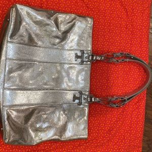 Tory Burch Silver Tote Metallic Bag